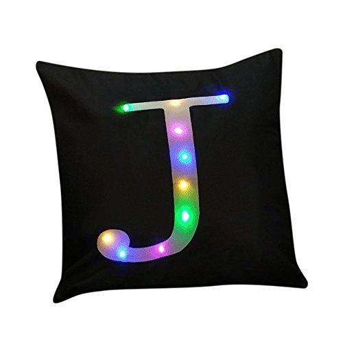 Andouy federa per cuscino con illuminazione a led lampeggiante, creativo unico federa per cuscino, brilla al buio, decorazione per divano, illuminazione lampeggiante, illuminazione a led, 45x45 cm