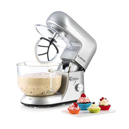 Klarstein Bella Argentea 2G • Küchenmaschine • Rührmaschine • Knetmaschine • 1200 W • 5,2 Liter • 6-stufige Geschwindigkeit • silber