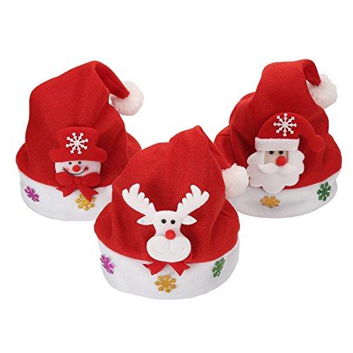 Cappello Natale 3 Pezzi Decorazione Animal Cartoon Bambini Cappellino Luce LED Unisex Christmas Hat con Festa di Natale Cosplay Accessorio 30 x 20 cm