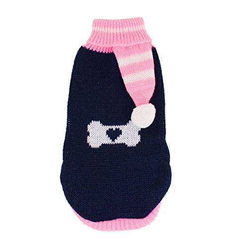 DealMux Medium Pom Accent Knit gerippte Bündchen Haustier-Kleidung Pullover, Größe 14, Dunkelblau / Pink -