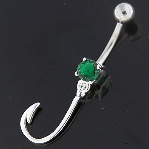 Plaine de fantaisie crochet pendantes en argent 925 avec acier inox Belly Vert foncé