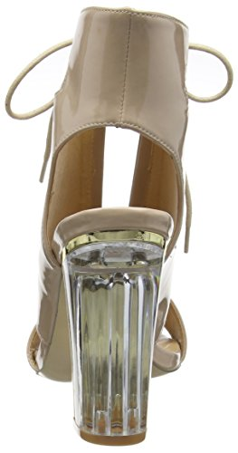 Boohoo Paige Clear Heel Lace Up Shoe Boot, Sandales femme Beige (Nude Patent)