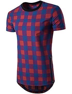 LANDFOX Hombres Plaids Asymmetric Hem Long Camiseta Verano Elegante Pullover Top