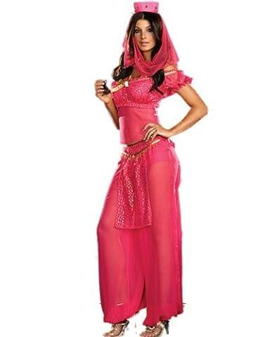 Ladies Belly Dancer Genie Princess Jasmine Aladdin Arabian Nights Adult Fancy Dress Costume (14 - 16, Pink) by