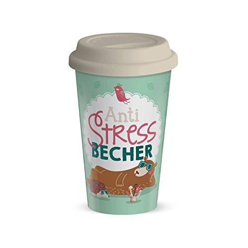 Die Geschenkewelt 44428 Becher mit Spruch Anti-Stress-Becher, Porzellan, 45 cl, mit Silikon-Deckel, pastell-farben