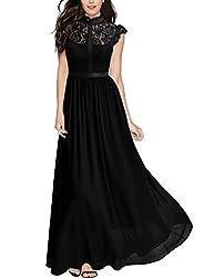 MIUSOL Damen Elegant Spitzen Abendkleid Brautjungfer Cocktailkleid Chiffon Faltenrock Langes Kleid Schwarz S
