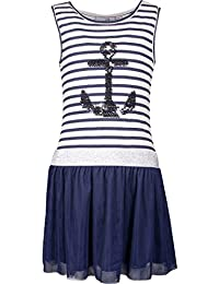 8ffd6d839e584f Happy Girl Mädchen Kleid Anker Wendepailletten gestreift navy white 981360