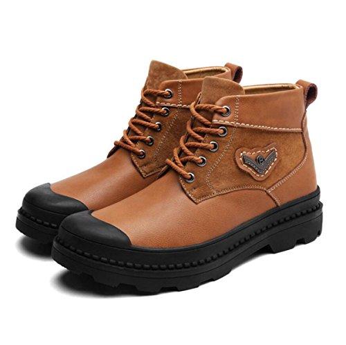 Autunno Ed Inverno Uomini Cuoio Scarpe Casual Moda Più Cashmere Caldo Scarpe Da Uomo Fondo Spessore Alto Aiuto Scarpe Brown