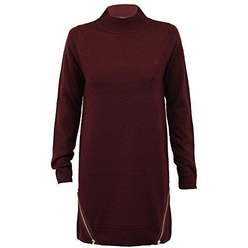 Pull DAMES long longueur femmes Heart & Soul tricoté col large fermeture éclair Fête NEUF vin - ilu020pka