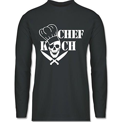 Shirtracer Küche - Chefkoch Totenkopf Skull - Herren Langarmshirt Dunkelgrau