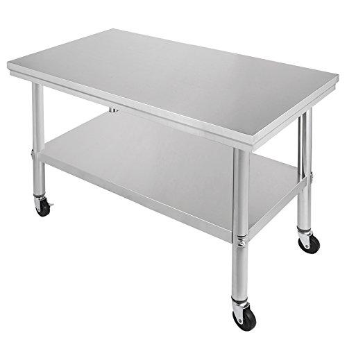 OldFe 91x61cm Tavolo da Lavoro per Cucina Professionale Acciaio Inox Cucina  Catering Tavolo da Lavoro per Cucina in Acciaio Inox con Le Ruote