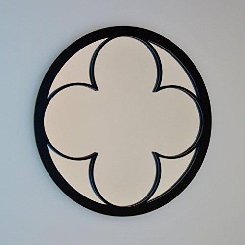 DECOHOGAR.SHOP Miroir Mural Rond - Grand trèfle - 80 x 80 cm - Laqué argenté