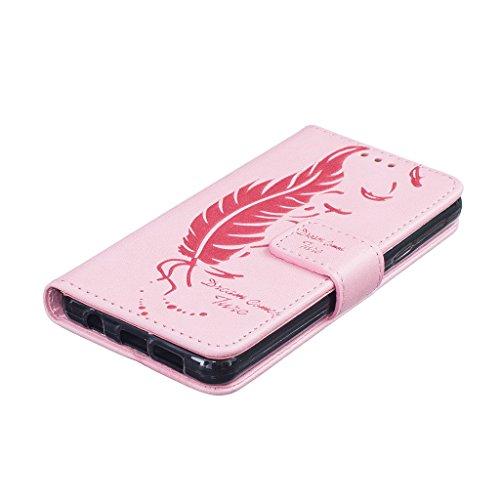 Uming® Il modello della stampa della custodia per armi variopinta della copertura Holster Cover Case ( Dual Pressure feather birds ( Rose 2) - per IPhone 5S 5 5G SE IPhone5S IPhoneSE ) Flip-artificial Dual Pressure feather birds ( Pink)