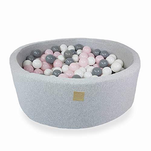 Bällebad mit Bällen Mädchen Junge - Bälle Bad für Kinder Baby rund 300 Bälle 90x40 cm puderrosa/grau/weiß