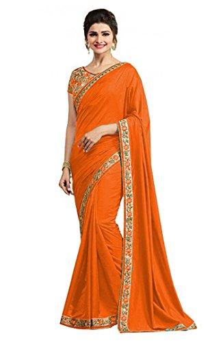 SHIVALIKA TEX Silk Saree With Blouse Piece (Radhee_Orange !Vc_181_Orange_Free Size)