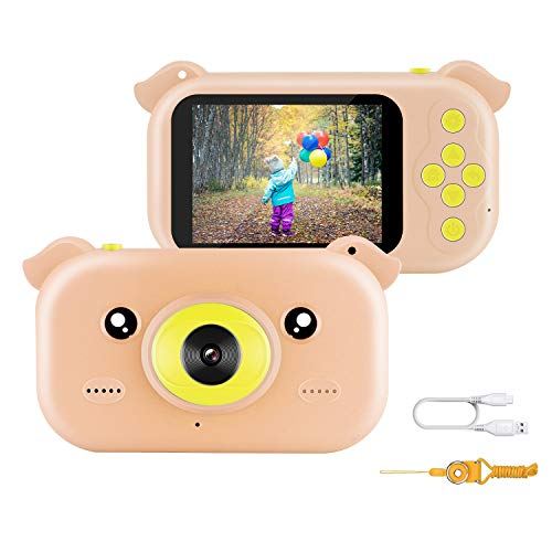 Digitale Kamera für Kinder, JAMSWALL Kinder Kamera 2.4 Zoll LCD Display für Kinder HD Kinderkamera 12 Megapixel 1080p Videokamera mit Schlüsselband und USB Kabel (Pink) -