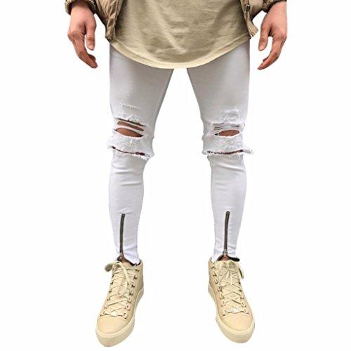 Hombres Pantalones, Manadlian Hombres Pantalones ajustados Ripeado Motocicleta Denim vintage Pantalones Hip hop (38, Blanco)