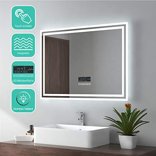 EMKE Espejo de Baño Espejo de baño Espejo LED Espejo de Pared con Interruptor Táctil+Antivaho+Altavoz...