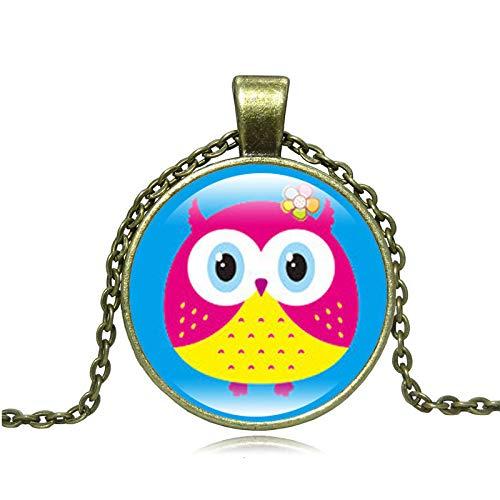 GYXYZB Schmuck Vintage Owl Time Edelstein Anhänger Halskette Bronze Halskette