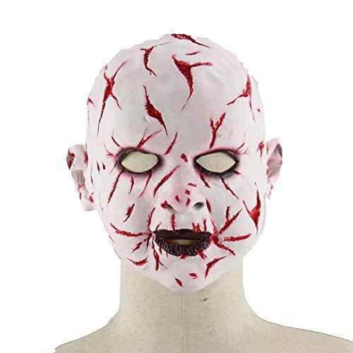 QJKai Blut Gesicht Ghost Halloween Horror Puppe Latex Geistermaske Zimmer Requisiten (Halloween Ghost Gesichter)