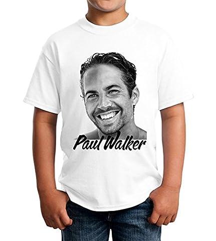 Paul Walker Actor Portrait Fast And Furious Graphic Design Kids Unisex T-shirt 5-13 Ages Large