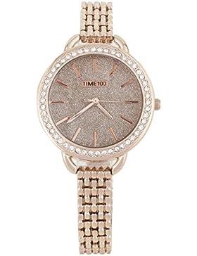 Time100 moderne Armbanduhr Damenuhren Mädchenuhr Junguhr rund