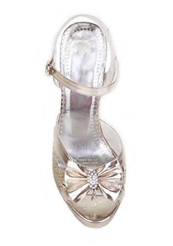 UH Femmes Escarpins Bride Cheville Bout Ouvert Brillant avec Noeuds Papillon Elegantes et Sexy à Talons Haut Bloc avec Plateforme Or