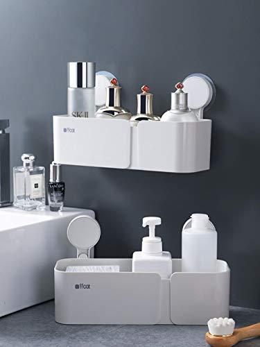 xlous Bad Badregal Wandhalterung WC Kunststoff Nagelkosmetik Saugnapf Waschtisch Ablage - Eins