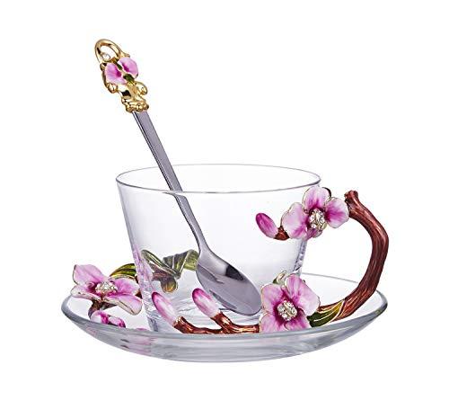 Kristallglas Emaille Cup Romantisches Rosenmuster Kristallglas for Kaffeetasse Tasse Emaille Farbe Teetasse (mit Teller und Löffel Set) (Color : Clear)
