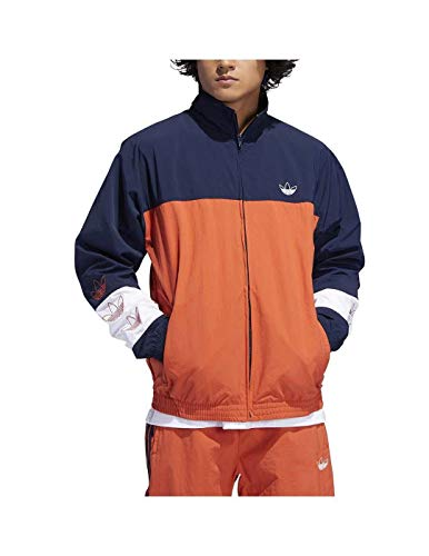 Adidas Blocked Warm Up Raw Amber Navy L - Adidas Windbreaker