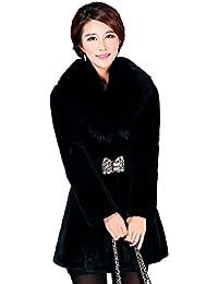 CHENGYANG Donna Giacca Lunga Pelliccia Sintetica Cappotto Invernali Maniche Lunghe Giacche