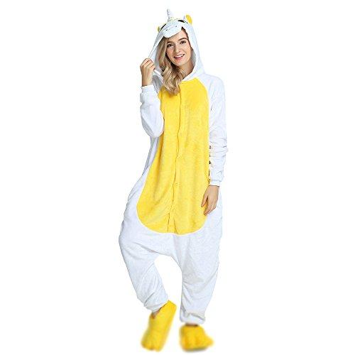 Crazy lin Erwachsene Einhorn Pyjamas Nacht Nachtwäsche Homewear Pyjamas Cosplay Kostüme (Yellow, M)
