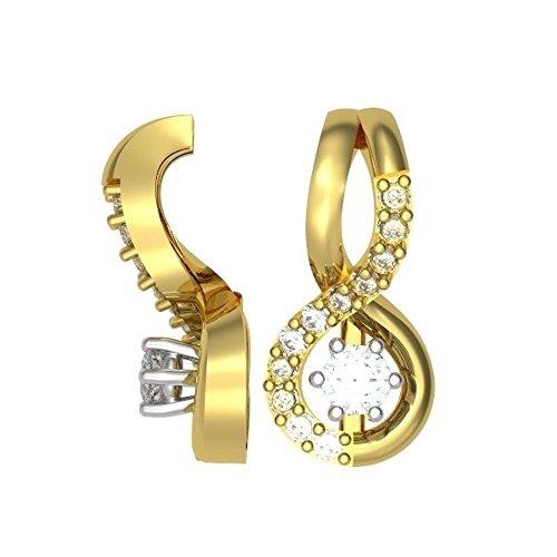 0.16ct F/VS1 Diamant Anhänger für Damen mit runden Brillantschliff diamanten in 18kt (750) Gelbgold mit Halsband (Antike Kostüm Schmuck London)