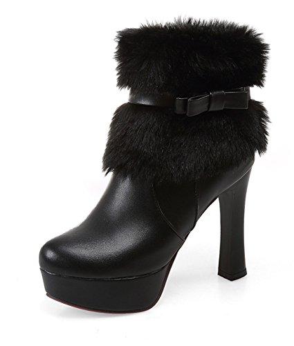 YE Damen Winter High Heels Plateau Warme Stiefeletten mit Schleife Blockabsatz Wasserdicht Schneestiefel Schuhe