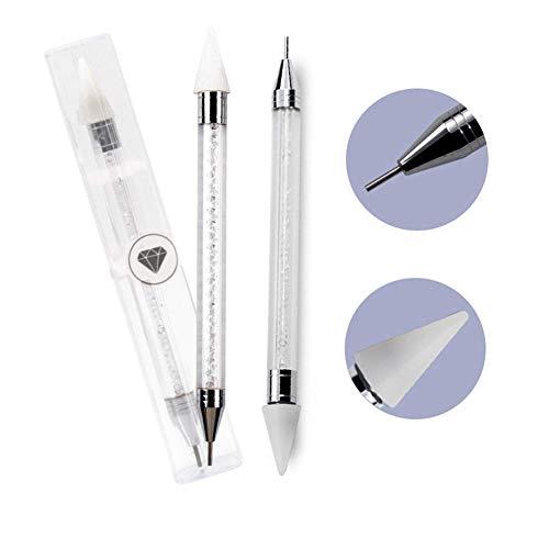 2pcs Nail Art Pen Strass Punktierung Pen Dot Pen Perlen Diamant Picker Maniküre Werkzeuge Edelstein Abholen Applikator
