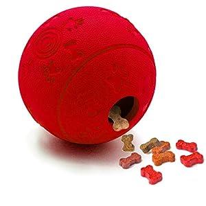 Luckytoy Balle IQ pour Grands Chiens de Petite Taille, IQ Treat Ball Interactive Distributeur de Nourriture Jouet pour Chien Rouge