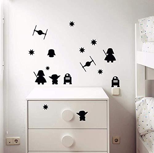 Pegatina de Pared Tallada Darth Vader de Death Star para niños Etiqueta de Bricolaje Decorativa