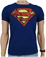 Logoshirt - Superman Logo Vintage T-Shirt Slim Fit, royal blue