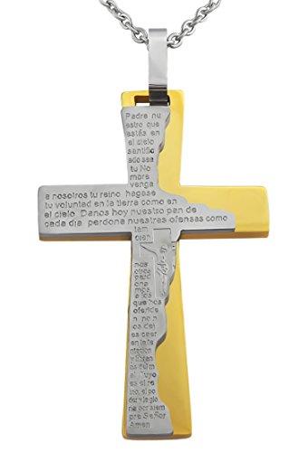 Hanessa Schmuck Edle Edelstahl Kreuz Halskette für Herren oder Damen in Gold Religion Jesus Christus Unisex Geschenk für Mann oder Frau / Freund oder Freundin Männer und