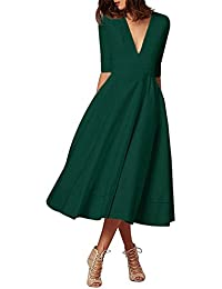 finest selection 4190e 7b7ce Amazon.it: vestito verde - A pieghe / Vestiti / Donna ...