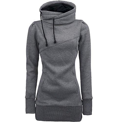 Rosennie Damen Zur Seite fahren Polyester Sweatshirt (XL, Grau) (Angora Pullover Blend)