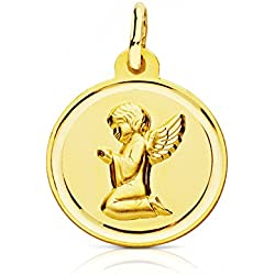 Médaille ronde Ange 16 mm Pendentif Or Jaune 18 ct