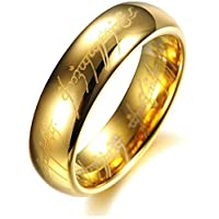 6mm Unisex Engraved Ring Gold Plated, LORD OF THE RING - Size - 9