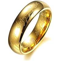 خاتم منقوش للجنسين 6 ملم مطلي بالذهب، LORD OF THE RING 9.0