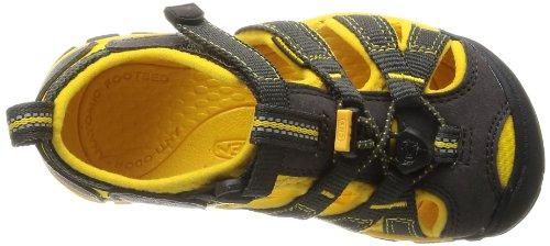 Keen SEACAMP II CNX T-ENSIGN BLUE/CAMELLIA RO 1010091 Unisex-Kinder Sandalen Braun (Raven/Yellow)