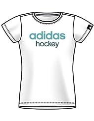 adidas Gráficos–Camiseta de mujer cuello redondo kurzä rmelig Juego Hockey Deportes–Camiseta, color Weiß, tamaño extra-small
