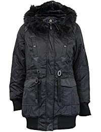 99a5ba4110b Ladies Parka Jacket Brave Soul Womens Hooded Coat Padded Faux Fur PU PVC  Winter
