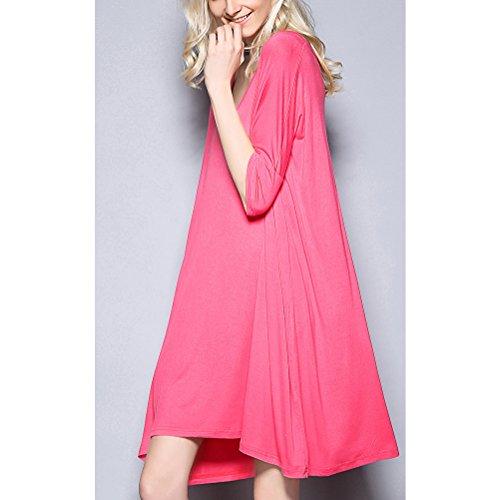 Zhhlaixing Womens Ladies Plus Size Half Sleeve Plain NightShirt Camicia da notte Pyjamas Watermelon Red