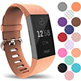 Yousave Accessories® Fitbit Charge 3 Armband, Silikon Ersatzarmband für Fitbit Charge3 Fitness Tracker, Sport Schrittzähler Armband, Fitbit Charge 3 Armbänder - Groß - Pfirsich