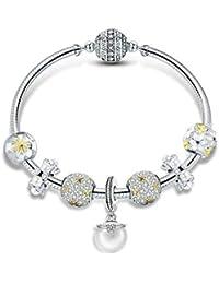 fb42db59693e LPRWEC Pulsera de Las Mujeres del Encanto Fina Perla Material de Plata  esterlina Cuff Brillantes Cristales